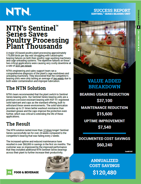 NTN sentinel series poultry processing