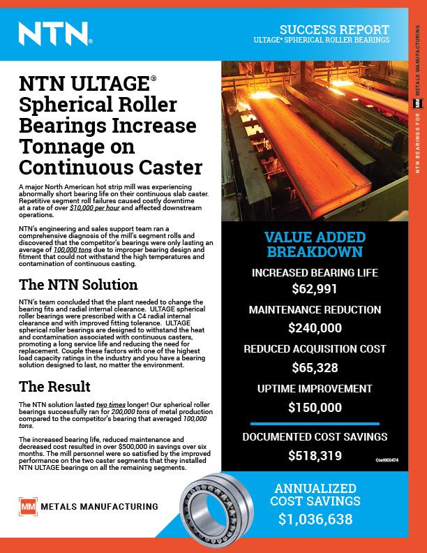 NTN success report spherical roller bearings continuous caster