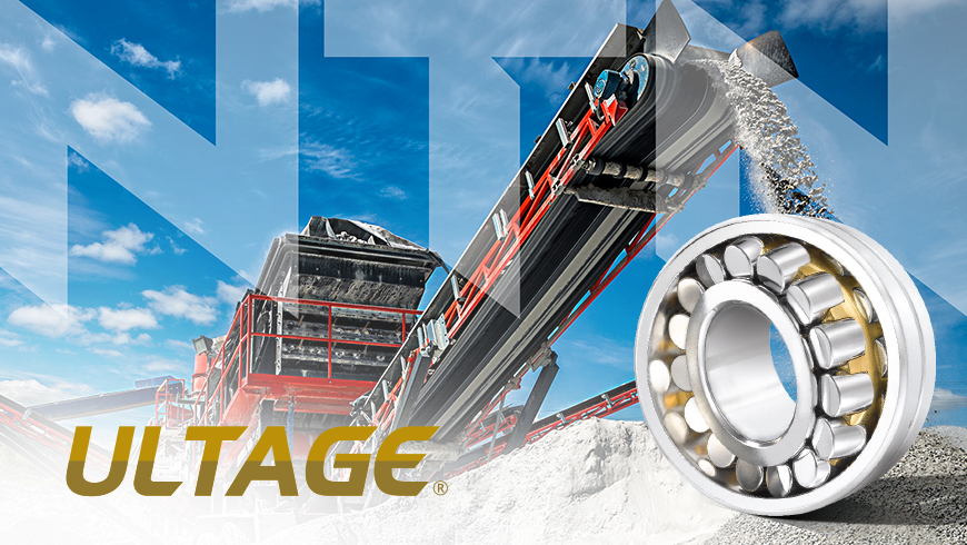 Ultage NTN Canada logo superimposed over rock conveyor