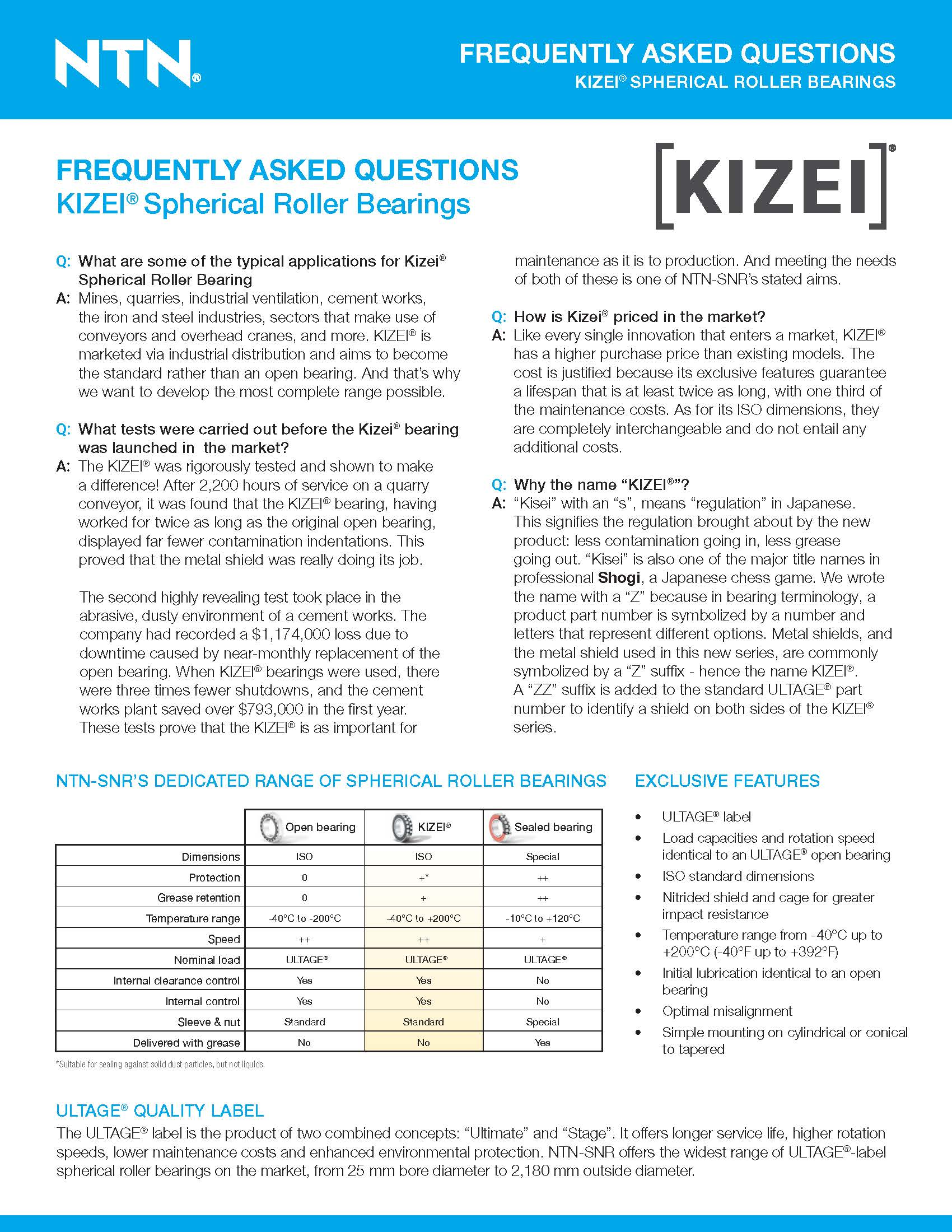 KIZEIFAQ https://ntn.ca/wp content/uploads///NTN KIZEI Spherical Roller Bearing Frequently Asked Questions.pdf