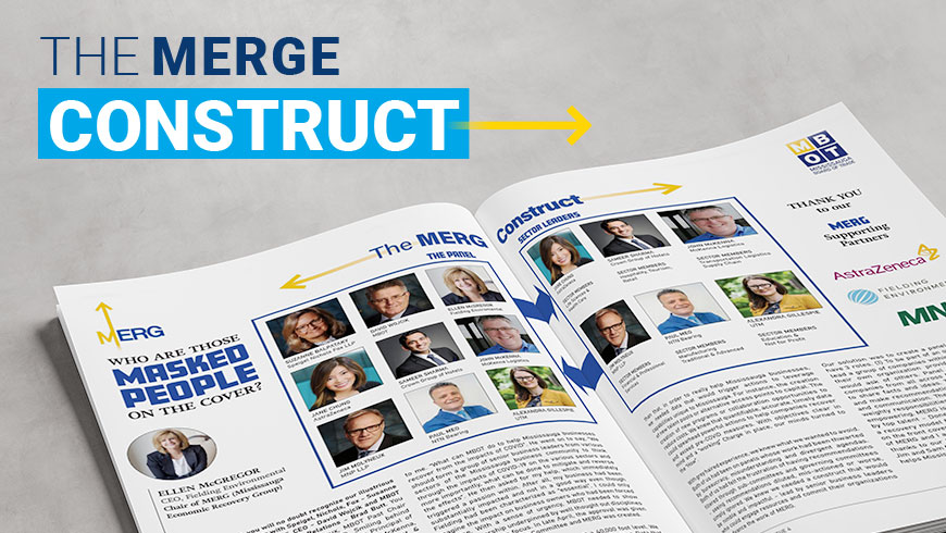 """Overhead view of an open magazine titled """"the Merge Construct"""""""
