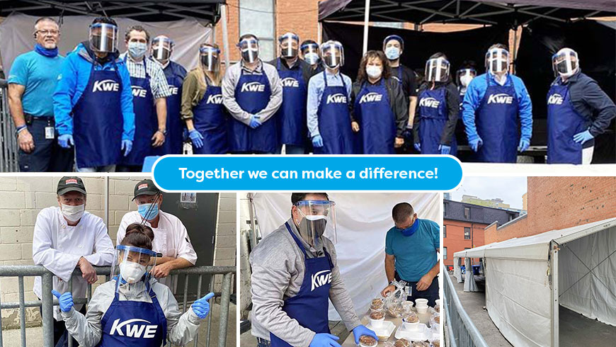 collage of image of NTN employees in PPE working at HAVEN