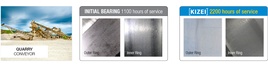 KIZEI bearings offer twice as many hours of work in a Quarry conveyor
