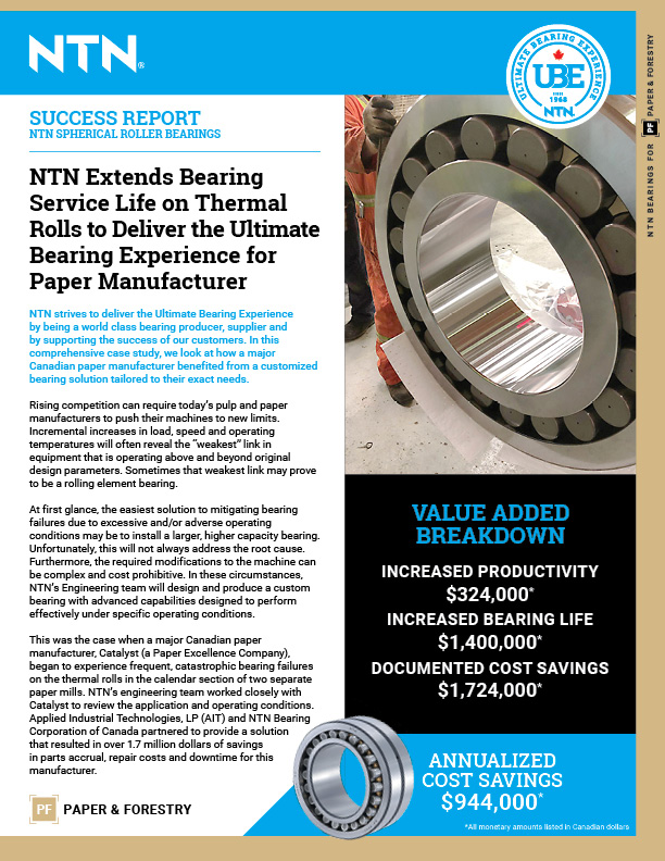 ntn extends bearing service life on thermal rolls for paper manufacturer cover 1